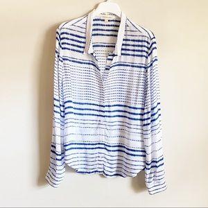 Cloth & Stone Tie Dye Stripe Women's Shirt L
